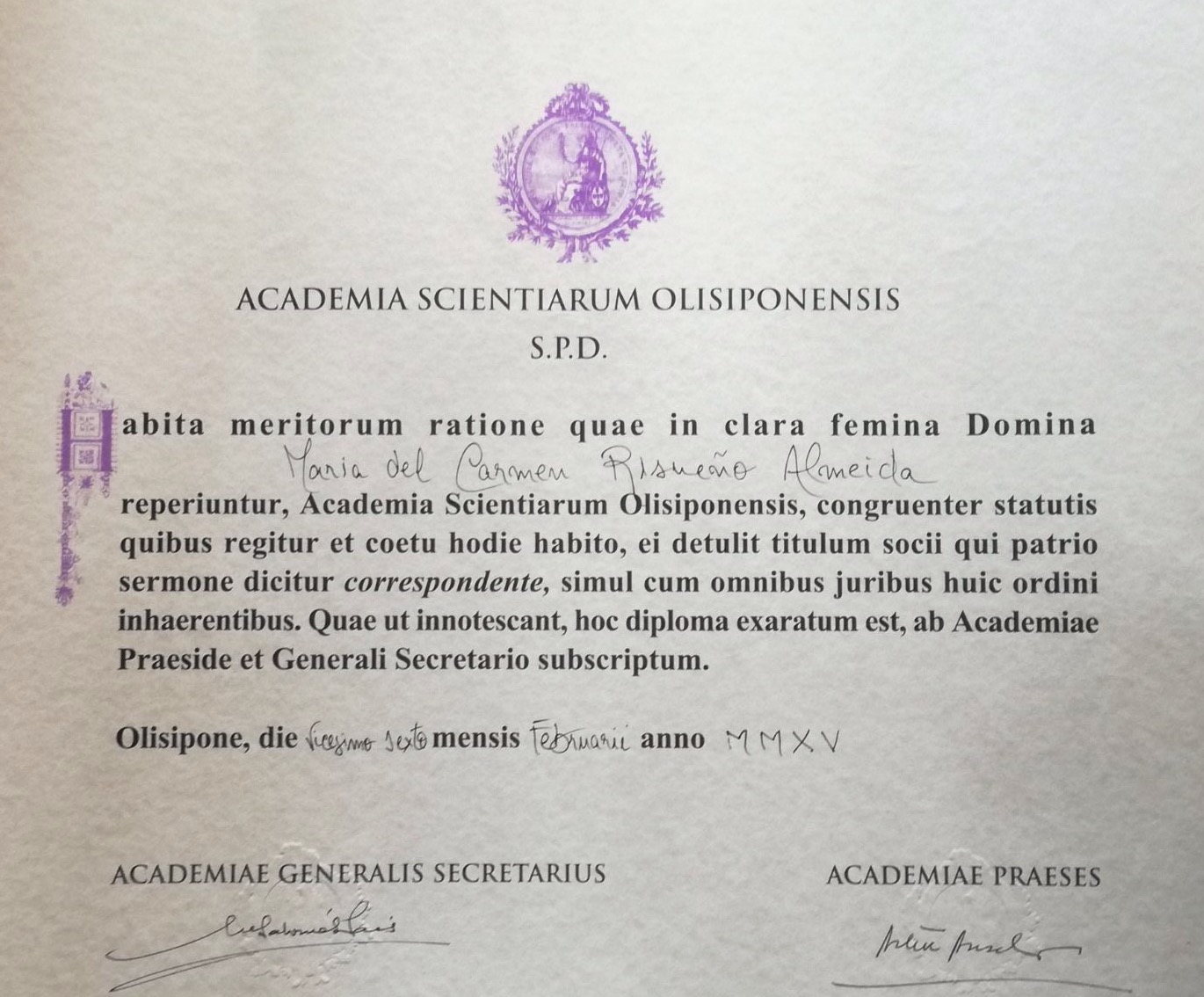 Appointment as member of the Lisbon Academy of Sciences